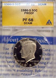 1986-S 50C Kennedy Half-dollar PF 68 DCAM ANACS 4679345 + Bonus