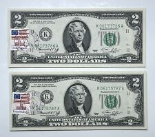 1976 $2 First Day of Issue Houston TX Federal Reserve Note ~ Lot of 2 (P107)