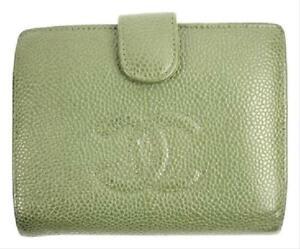 Chanel   Olive Green Caviar Wallet CC Logo Snap Bifold Flap 28CCA606RL CCJY9R