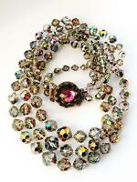 "Vintage 1950s Sparkly Aurora Borealis 17.5"" Triple Strand Necklace"