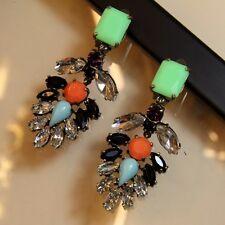 Orecchini`Orecchie Clip In attesa di Verde Corallo Vintage Grandi Matrimonio