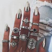 10pcs/set Gold Silver Plated Knuckle Ring Band Tip Finger Stacking Punk Rings