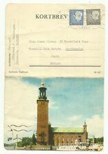 Stockholm, Stadshuset, Sweden postcard - letter 1963