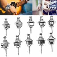 10x Strap Locks Buttons Round Head Chrome for Electric Acoustic Guitar US Seller