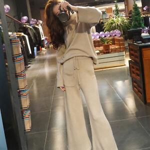 Womens Designer Inspired Wool Cashmere Turtleneck Jumper+Trousers Knitwear Suit