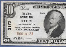 MA 1929 $10 ♚♚ ATHOL, MASSACHUSETTS ♚♚  THE ATHOL NB