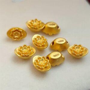 1PCS Real 24K Yellow Gold Pendant 3D Lucky Lotus Flower Yuanbao Bead 8.2x3.9mm