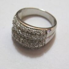 Silver Sterling Ring 6g Size Q Ladies Pave Set Clear Cubic Zirconia