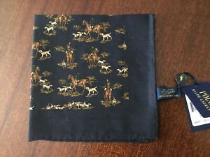 POLO Ralph Lauren Equestrian Hunting Horseman Wool Pocket Square Made in Italy
