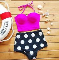 Sexy Women Bikini Vintage Retro High Waist Push Up Bandeau Swimsuit Swimwear Set