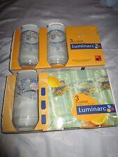 6pc New Luminarc Arc France Florine Blue Floral Clear Glass 12cm 260ml Glasses