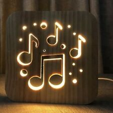 MUSICAL NOTES WOODEN LAMP USB LED BEDROOM NIGHT LIGHT SUSTAINABLE OAK WOOD