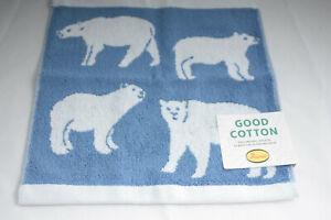 Anorak ~ POLAR BEARS ~ face cloth flannel BNWT blue  100% cotton