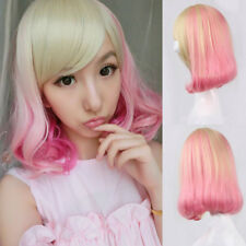 New Cute Lolita Short Curly Wavy Full Wig Hair Cosplay Party Pink Ombre Blonde