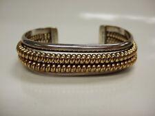 Signed Vintage Navajo Sterling Silver & Gold filled Cuff Bracelet