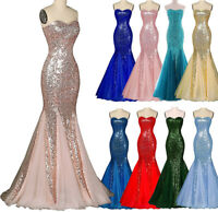 NEW Evening Formal Party Ball Gown Prom Bridesmaid Fishtail Sequins Dress 6-22