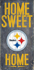 """Pittsburgh Steelers Home Sweet Home Wood Sign 12"""" x 6"""" Man Cave FAST SHIPPING"""