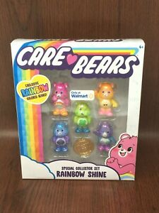 NEW Care Bears Rainbow Shine Exclusive Figurine Special Collector Set w/ Coin