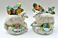 Antique Chelsea Porcelain Miniature Set of 2 Figure Figurine Sheep Lamb 6cm wide