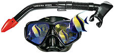 Black Mirrored Poly-chromatic reflective lens Mask Snorkel scuba spearfishing