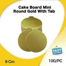Cake Board Mini RD Gold Tab 100Pk 9Cm Display Cupcake Slices Boxes Muffin Cases