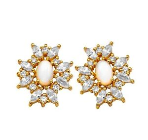 OPAL AND CUBIC ZIRCONIA EARRINGS BY GINAI JEWELLER`S STUD NEW IN