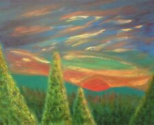 Original Acrylic Painting on Canvas One Glorious Morning Mountains Sunrise Trees
