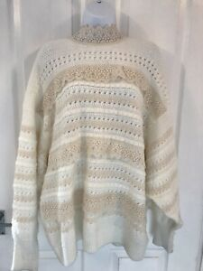 Zara Beautiful Knitted Jumper With Lace Detail Size Large Ex Con