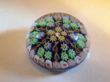 VTG Strathearn Glass Scotland Millefiori & Ribbons Decorated Paperweight