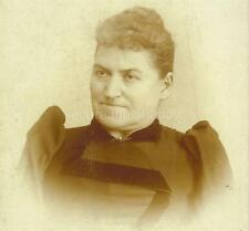 CABINET CARD PHOTO: Dour MIDDLE-AGED WOMAN in BASQUE w DARK VELVET TRIM Indiana