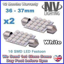 2 White 16 SMD LED Car Number Plate Registration Dome Light Bulbs 36mm DE342 12V