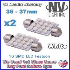 2 White 16 SMD LED Car Number Plate Registration Dome Light Bulbs 36mm DE342 12V