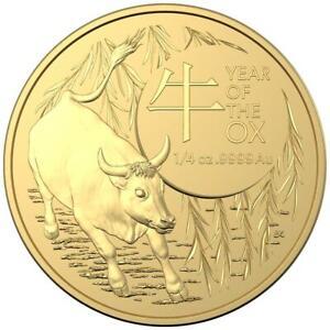 Australien 25 Dollar 2021 - Jahr des Ochsen Premium-Anlagemünze - 1/4 Oz Gold ST