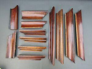 Job lot of old wooden mouldings for clock or furniture restoration