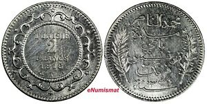 Tunisia Muhammad V Silver 1334 (1916) A 2 Francs aUNC KM# 239 (18 948)
