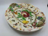 Vintage Italian Majolica platter applied flowers handles hand painted colorful