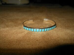 Vintage Navajo Sterling Silver Sleeping Beauty Turquoise Inlay Cuff Bracelet