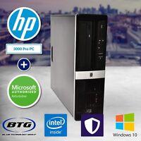 Ultra Fast HP Desktop Computer Intel 4GB RAM 250GB HD PC Windows 10 WiFi DVD USB