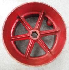 """Cast Iron or Steel Vtg Farm 6-Spoke Belt Pulley    8 3/8"""" diameter  /  6"""" Wide"""