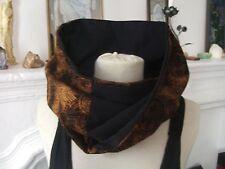 Snood col tour cache cou echarpe tube twist tissu réversible noir / brun