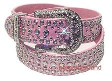 US Seller Western Rhinestone Pink Stud Studded Snap on Buckle Leather Belt L ML