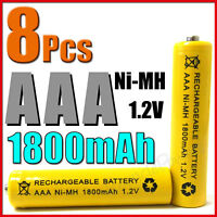 8 pcs AAA 3A 1800mAh Ni-MH Rechargeable Battery Yellow