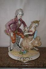 CAPODIMONTE LARGE PORCELAIN COURTING COUPLE FIGURINE ~ MINT! ` MADE IN ITALY