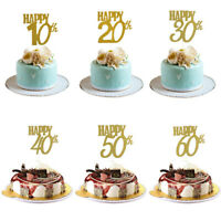 Baby Glitter Gold Sweet Pastry Cake Topper Age Happy Birthday Party Decoration