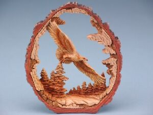 Free Standing Wood Effect Eagle In Log Ornament
