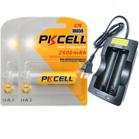 2X ICR 18650 3.7V 2600mAh Rechargeable Flashlight Batteries with Charger PKCELL