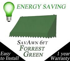 SAVE ENERGY! SA. 6 Retractable Window Door Canvas Awning Canopy Green 6-foot 6ft