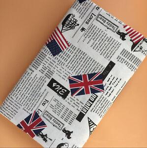 50x150cm Cotton Linen Fabric DIY ZAKKA Home Deco Newspaper Union Jack 1010-2 B#