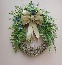 "19"" Greenery w Woven Bow Summer Fall Grapevine Door Wreath"