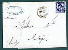FRANCE - FRANCIA - 1877 - Da Parigi a Montargis, dipartimento del Loiret - Busta